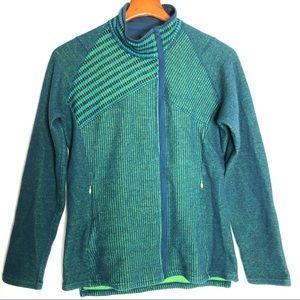 Title nine wool blend full zip/ green blue/ L